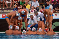 Alessandro Campagna head coach showing tactics and strategy to the italian team. Budapest, Hungary - Jul 14, 2014. Alessandro Campagna head coach showing tactics Stock Image