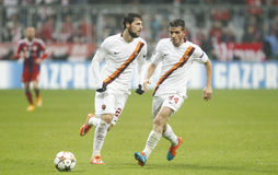 Alessandro Florenzi and Mattia Destro Bayern Munich v AS Rome Champion League Stock Image