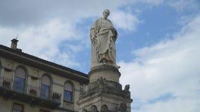 Alessandro Volta Statue. In Como town, Italy stock video footage