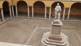 Alessandro Volta statue at University of Pavia, PV, Italy, slow panoramic shot.  stock video