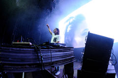 Alesso (Swedish DJ and electronic dance music producer) performs at FIB Festival. BENICASSIM, SPAIN - JULY 20: Alesso (Swedish DJ and electronic dance music royalty free stock image
