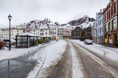 Alesund市中心 冬天横向在挪威 免版税库存照片