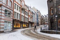 Alesund市中心 冬天横向在挪威 图库摄影