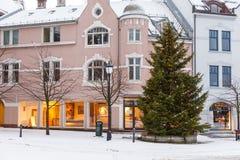 Alesund市中心 冬天横向在挪威 免版税库存图片
