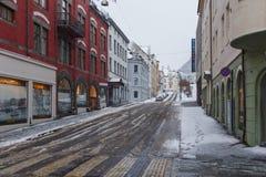 Alesund市中心 冬天横向在挪威 库存照片