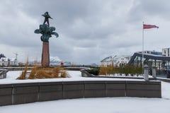 Alesund市中心 冬天横向在挪威 库存图片