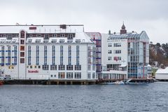 Alesund市中心 冬天横向在挪威 免版税图库摄影