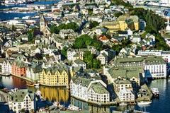 Alesund海视图,挪威 库存图片