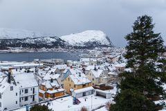 Alesund镇的看法从观点的 33c 1月横向俄国温度ural冬天 免版税库存图片