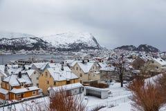 Alesund镇的看法从观点的 33c 1月横向俄国温度ural冬天 库存照片