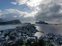Alesund,挪威- AKSLA观点 免版税图库摄影