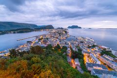 Alesund -旅游市挪威 库存照片