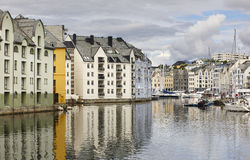 Alesund. Buidings and canal. Norwegian traditional tourist desti Royalty Free Stock Photos