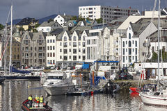 Alesund. Buidings and canal. Norwegian traditional tourist desti Stock Images