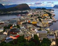 Alesund de la colina de Aksla noruega Imagen de archivo libre de regalías