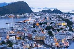 Alesund - den turist- staden av Norge royaltyfria foton