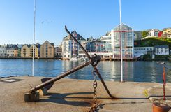 Morning at central marina of Alesund, Norway. Alesund is a famous resort and tourist city in Scaninavia Stock Photo