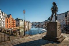 Alesund historiskt centrum, Norge royaltyfria foton