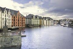 Alesund Inner Harbor stock photo