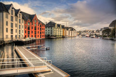 Alesund inner harbor in Norway Royalty Free Stock Photos