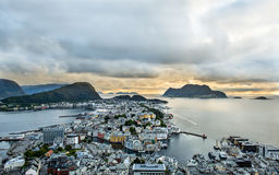 Alesund Norvegia Fotografia Stock Libera da Diritti