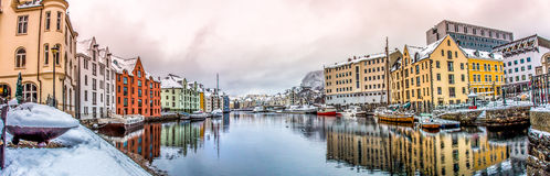 Alesund, Norway. Ålesund is a town and municipality in Møre og Romsdal county, Norway. It is part of the traditional district of Sunnmøre, and the center of Stock Photo
