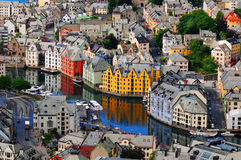 Alesund, Norway. A beautiful view overlooking the buildings and river of Alesunde, a seaport in Norway, known for its outstanding Jugendstil style architecture