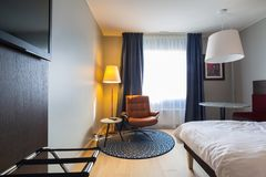 Bedroom interior of Radisson BLU hotel in Alesund Stock Photo