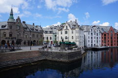 Alesund, Norway. The centre of Ã…lesund (Alesund) in Norway. After a fire in the beginning of the 20th century the city centre was restored in Jugendstil stock photos