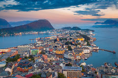 Alesund, Norway. Cityscape image of Alesund, Norway at dawn royalty free stock photo