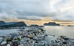 Alesund Norway. Ocean of alesund norway,sunrise royalty free stock photo