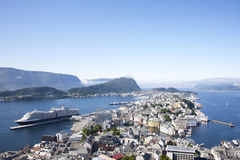 Alesund Norway Port with Cruise Ship Royalty Free Stock Photography