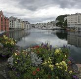Alesund Norway Scenic view along river. stock image