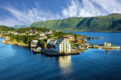 Alesund in Norway. Sea view on houses on the island in summer, No stock photo