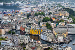 Alesund, Norway - town houses on sea front Stock Photos