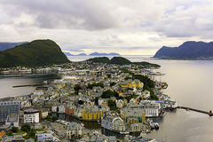 Alesund ,Norway. Alesund is town and municipality in Moreog Romsdal county , part of the traditional district of Sunnmore,,fisherman village ,port,Art Nouveau Royalty Free Stock Photo