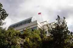 ALESUND, NORWEGEN - CIRCA 2016 - ein Bild des Fjellstua-Ausblickpunktes, der Touristen und Einheimische mit Panoramablicken versi stockbilder
