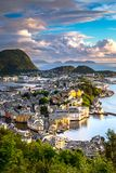 City Scene with Gorgeous Alesund before Sunset in Summer royalty free stock image