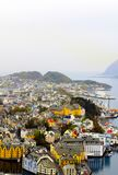 Alesund Skyline on a Rainy Day, Colorful Urban Architecture, Travel Norway stock images