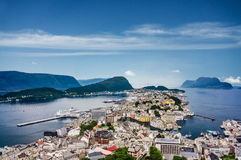 Alesund sunny panoramic view, Norway Royalty Free Stock Images