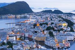 Alesund - the tourist city of Norway Royalty Free Stock Photos