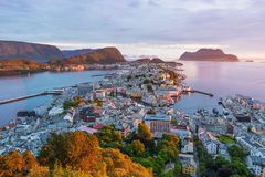 Alesund - the tourist city of Norway. Alesund is a port and tourist city in Norway. Famous tourist attraction. View point on Mount Aksla. Beautiful sunset Royalty Free Stock Photography