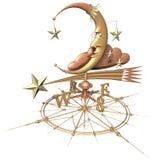 Aleta de tempo - lua & estrelas Foto de Stock Royalty Free