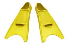 Aletas amarelas no branco Fotos de Stock Royalty Free