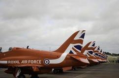Aletas de cauda dos aviões de RAF Red Arrow Imagem de Stock Royalty Free