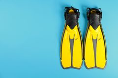Aletas de la natación en el fondo del color, visión superior imagenes de archivo