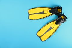 Aletas de la natación en el fondo del color, visión superior fotografía de archivo libre de regalías