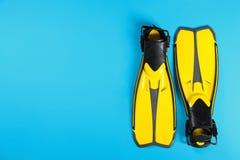 Aletas de la natación en el fondo del color, visión superior foto de archivo libre de regalías