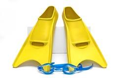 Aletas e óculos de proteção de nadada Fotos de Stock