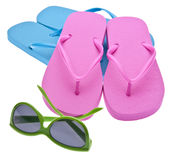 Aletas e óculos de sol da aleta Fotografia de Stock